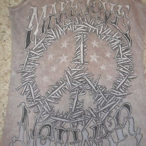 "Affliction ""Make Love Not War"" Peace Zipper Tank"